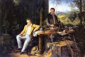 Alexander von Humboldt et Aimé Bonpland dans la jungle, tableau d'Eduard Ender